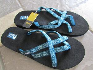 8db604330079f NEW TEVA OLOWAHU FLIP FLOP SLIDE SANDALS WOMENS 11 HAZEL BLUE 6840 ...