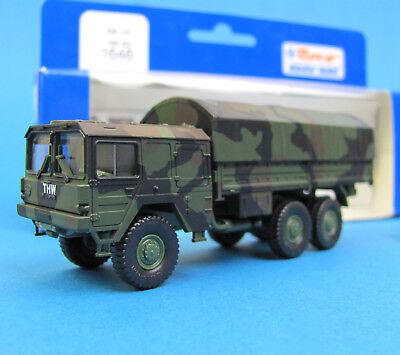 Roco H0 1646 MAN 452 6x6 7t LKW THW getarnt Pritsche Plane HO 1:87 Minitanks