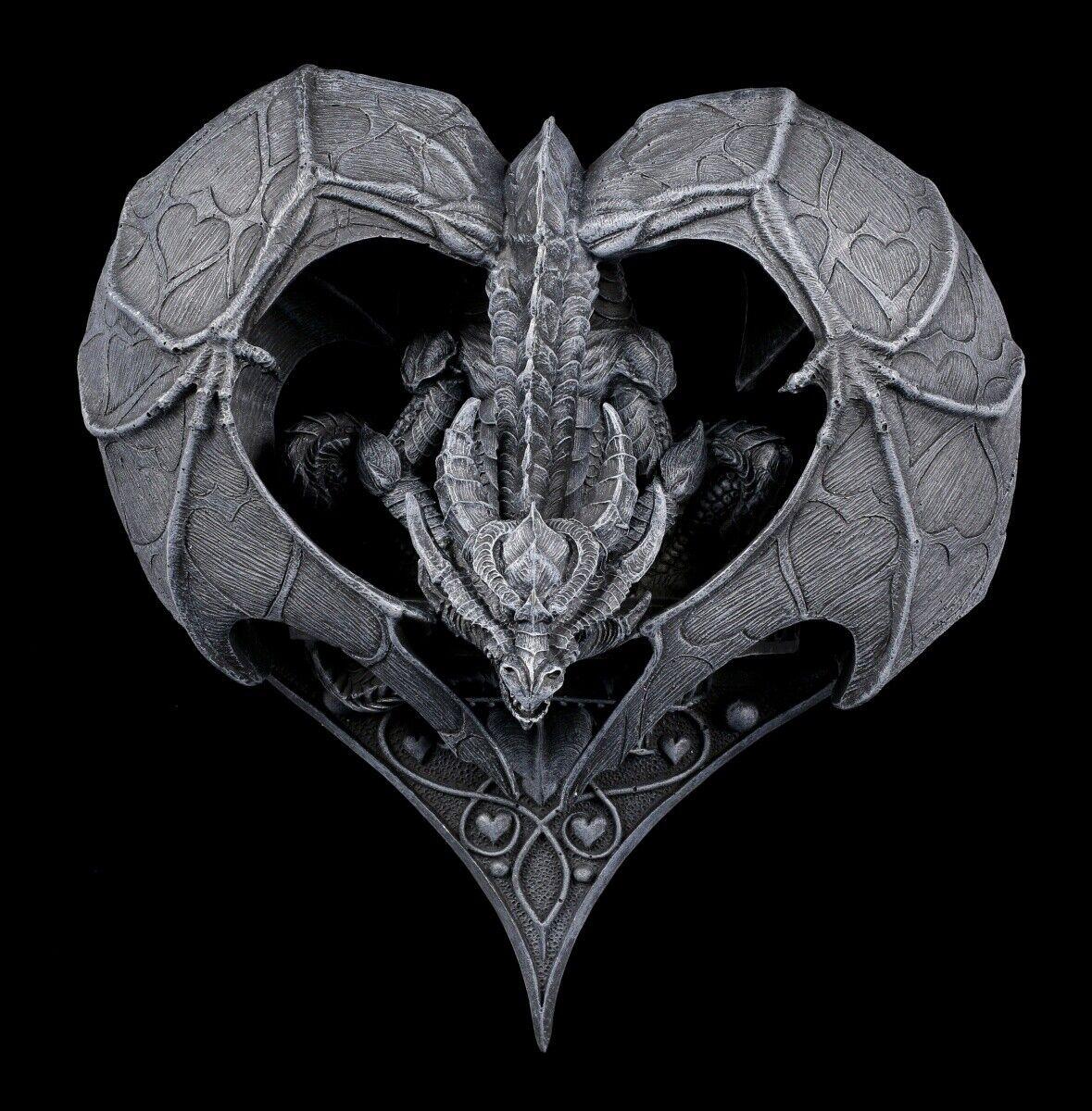 Gótico Relieve de Pared - Corazón Dragón Fantasía Decoración Dekoartikel H 23 CM