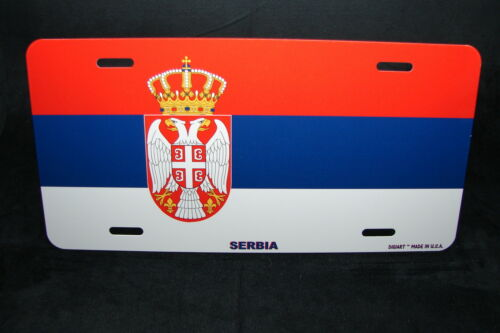 SERBIA FLAG METAL NOVELTY LICENSE PLATE TAG FOR CARS
