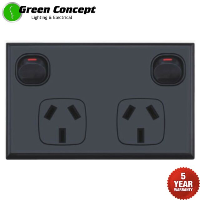 NEW Standard Black Double Power Point GPO Two Gang Socket Outlet Powerpoint 12mm