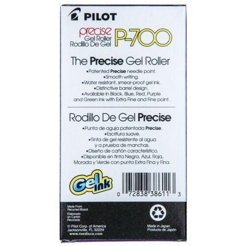 0.7mm Precise Gel Roller Pen Pack of 6 Pens Pilot P700 Fine 38611 Blue Ink