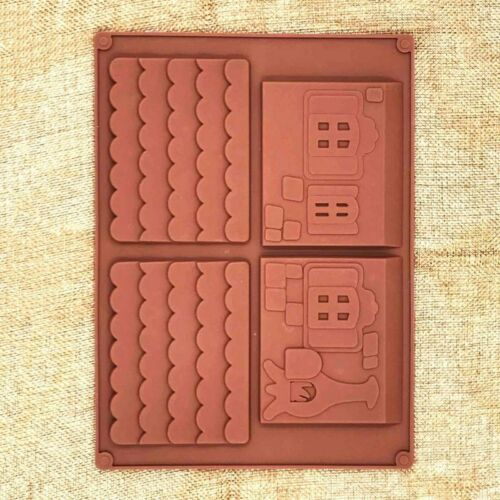 2Pcs//Set 3D Gingerbread Christmas Silicone Molds Chocolate Mold Cake Mold Mould