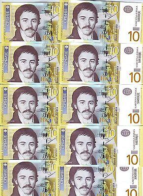 LOT, Serbia, 10 x 10 Dinara, 2013, P-New, AA-Prefix, UNC
