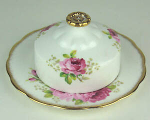 Butter-Dish-Royal-Albert-American-Beauty-rose-vintage-bone-china-England