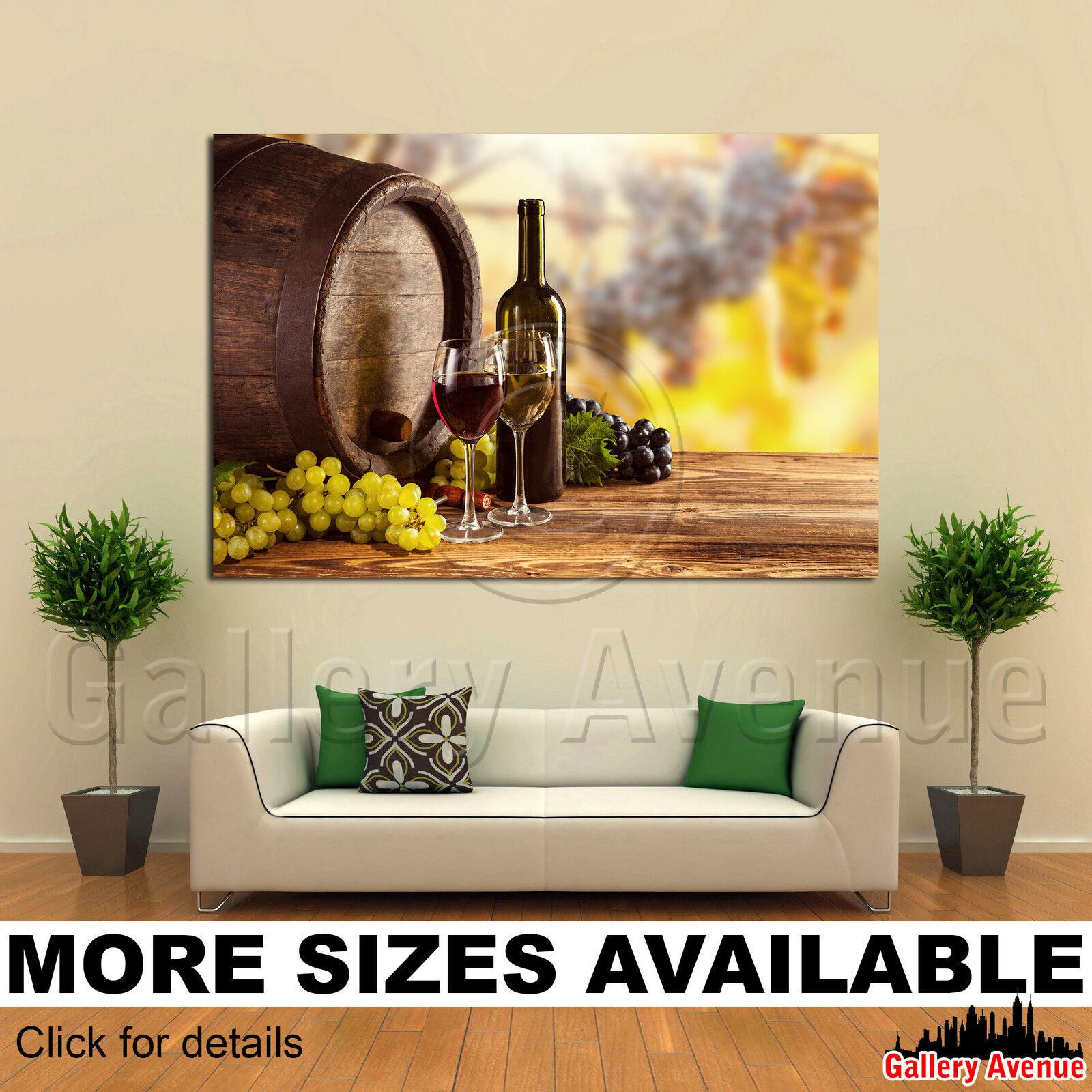A Wand Kunst Canvas Bild Drucken - Bottle Glas wine wooden barrel grapes 3.2