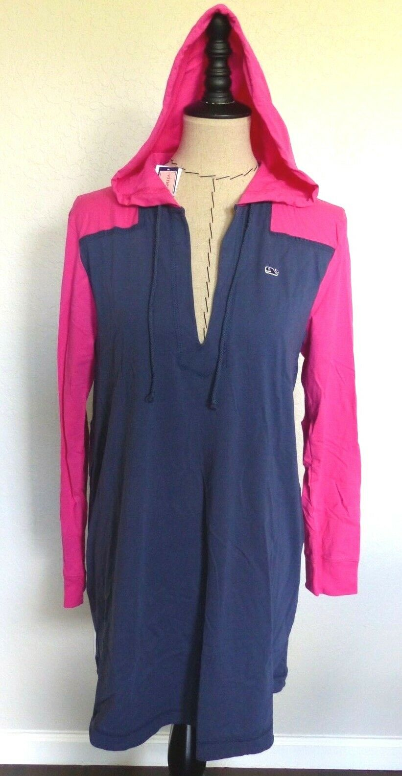 VINEYARD VINES Women's Long Sleeve Hoodie Tee DRESS  Size LG Pink Navy NWT