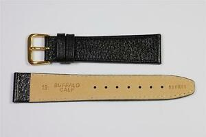 CONDOR-19mm-Black-Buffalo-Genuine-Leather-Watch-Strap-VERY-POPULAR-LU1R