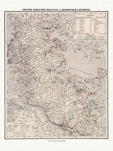 Alte-Schleswig-Holstein-Lauenburg-Dekorative-Landkarte-Sohr-1875