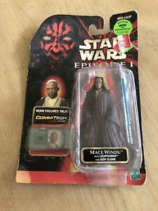 Star Wars Episode I Hasbro 1998 CommTech Chip Mace Windu with Lightsaber New