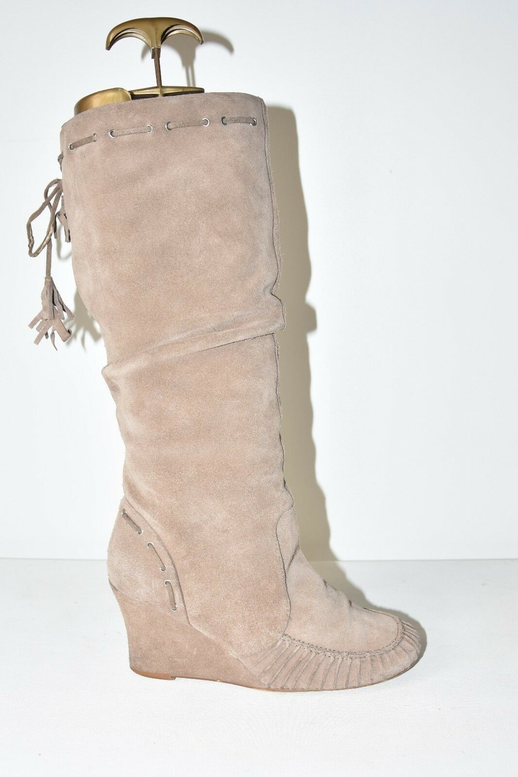 Beige Real  Leather THEME Zip Knee High Wedge Mid Heel Women's Boots Size 5 38
