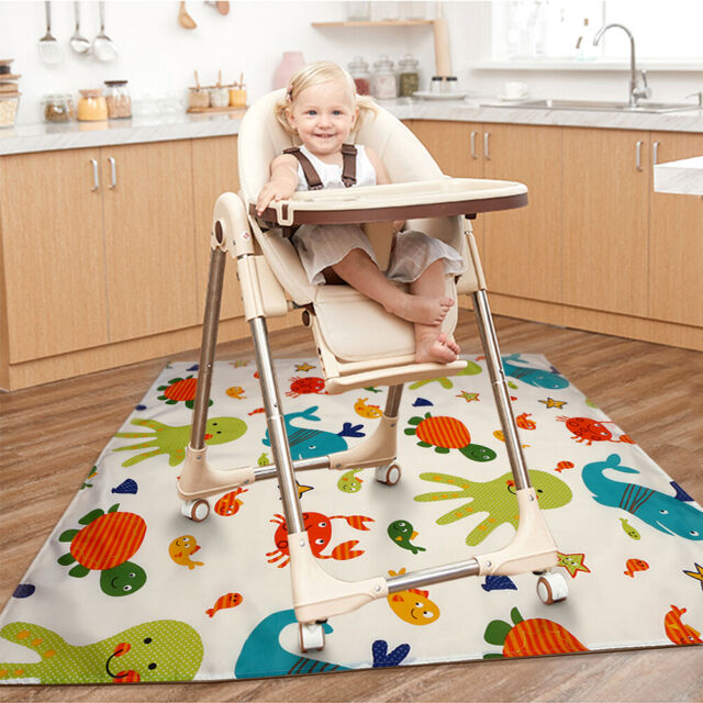 Baby Washable Feeding Food Mat High Chair Kids Floor Mess Splash