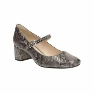 Details about Clarks Chinaberry pop Purple grey Leather Ladies shoesMary Janes 437 D