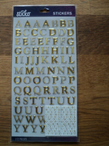 EK SUCCESS STICKO FOIL EMBOSSED GOUDY ALPHABET STICKERS GOLD OR SILVER BNIP