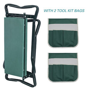 Details About Folding Garden Kneeler Seat W/2 Bonus Tool Pouch Portable  Stool Pad Soft Cushion