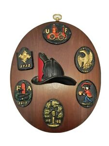 Vintage Fireman Insurance Cast Iron Plaques Collection