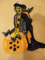 Vintage Witch With Pumpkin Sequin Beaded Applique Patch 6 Sew On