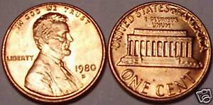 1980-D BRILLIANT UNCIRCULATED LINCOLN CENT