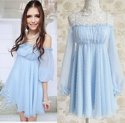 Kawaii Fashion Dolly sweet Cute Princess Chiffon Long Sleeve Sexy Dress Blue