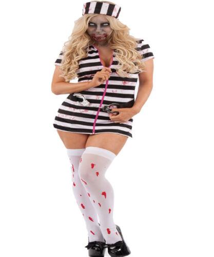 Halloween Laides Black And White Stripe Bloody Convict Prisoner Costume GW2464