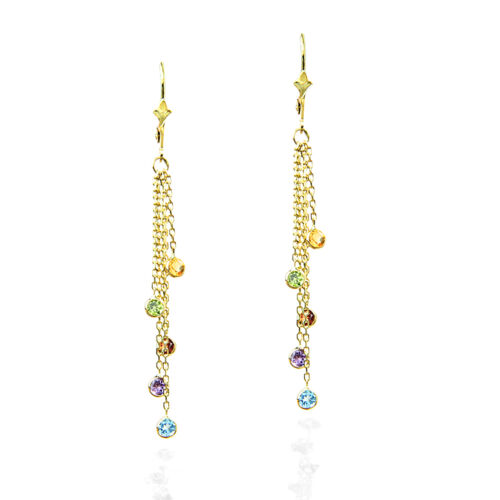 14K Yellow Gold Chandelier Earrings With Colorful Gemstones