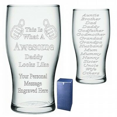 Awesome Pint Glass Daddy Mummy Gran Papa Gift 079 Personalised Thumbs Up