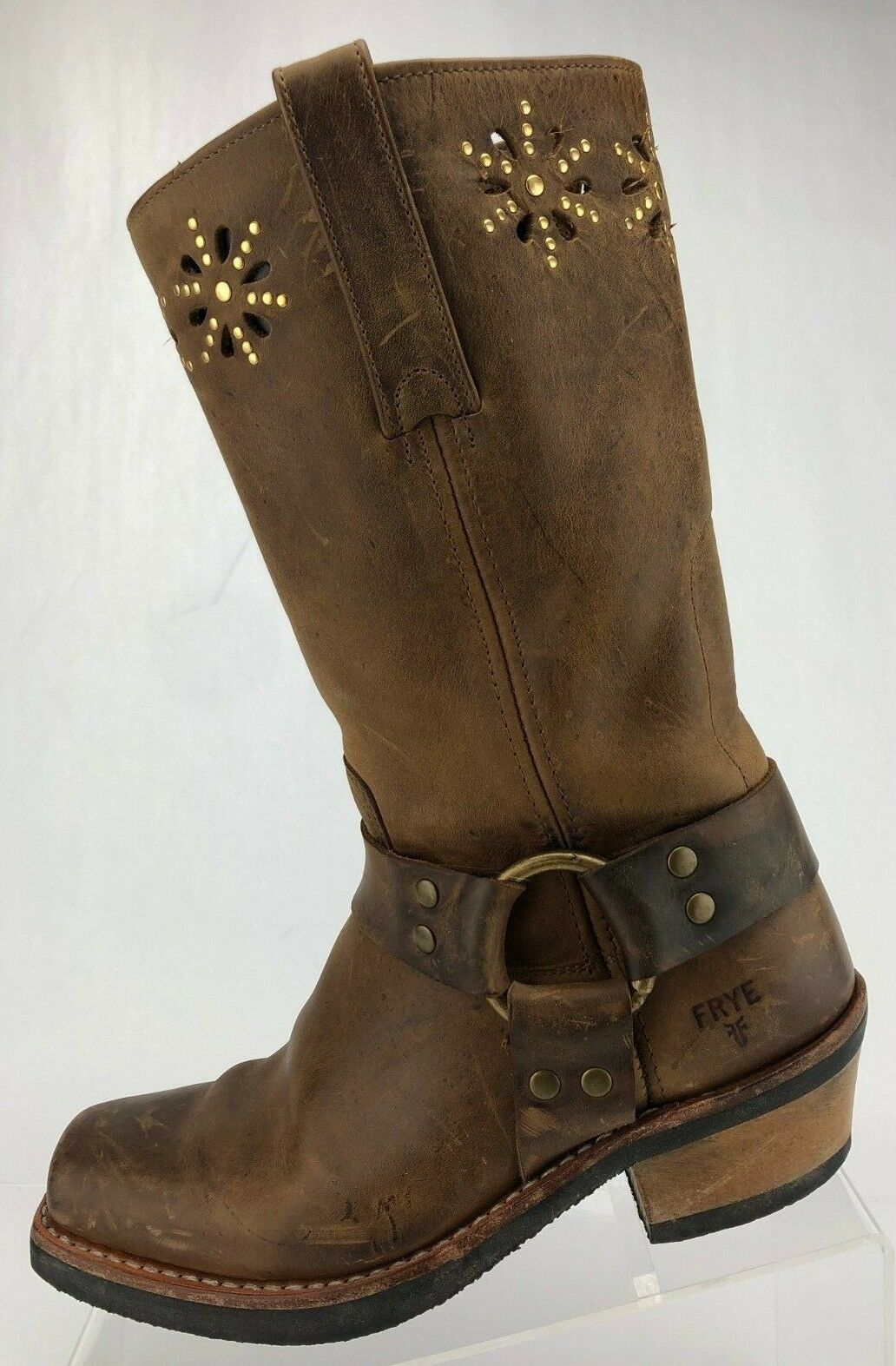 Frye Harness Motorcycle Boots Brown Leather Pull On Studded Mid Calf Womens 6.5M