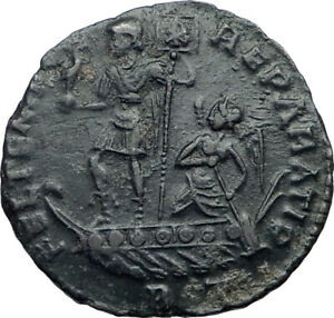 Constans 342 to 348 AD Authentic Roman Coin ~ 2 Victories on Reverse Ancient Bronze Coinage AE