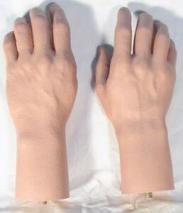 Pair-Mannequin-Male-Hands-Life-Size-Lifelike-Fleshtone-Manikin-Dummy-Brand-NEW