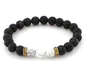 Buddhism-8MM-Black-volcano-stone-white-turquoise-bracelet-Sutra-Wrist-Bead