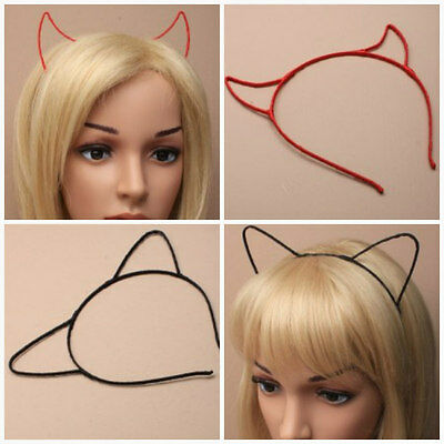 Alice Band Cat Ear or Devil Horn Ribbon Wrapped Wire  Headband  Hair Accessorie