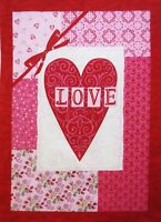 Valentine Quilt Top Fabric Panel By Moda Love Heart 13.5 X 19.75 Plus 1 Seam