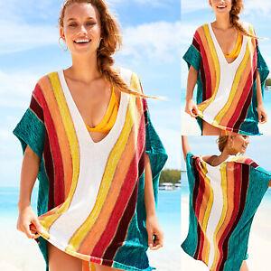 Damen-V-Ausschnitt-Kaftan-Bikini-Cover-Up-Baggy-Lose-Minikleid-Longtop-Longshirt
