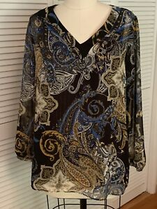 NEW-AVENUE-14-16-Black-Gold-Long-Sleeve-V-Neck-Lightweight-Pullover-Top-L-60