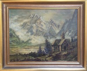 Oil-Painting-Landscape-Switzerland-Mountains-Eiger-Church-Monk-Woman-Impressionism