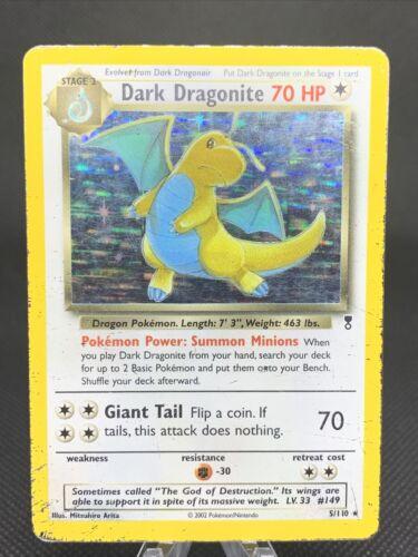 2002 Pokemon Card Dark Dragonite 5/110 Legendary Holo Rare (M6)