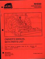 1991 Rhino Rhd88 Heavy Duty Flail Mower Owners Parts List Manual Pn 803215 (600)