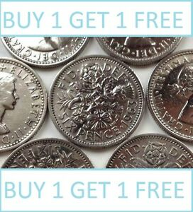 Lucky Silver Sixpences Order 1 Get 1 Free with Free Postage Choice of Date