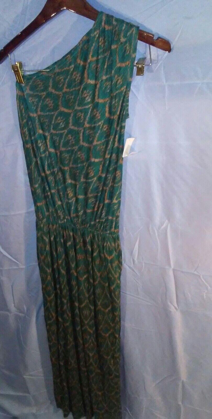 Rachel Roy One Shoulder Emerald Grün Gold Bon Voyage Maxi Dress  sz S NWT