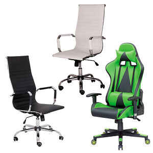 MODERN-PU-LEATHER-ERGONOMIC-HIGH-BACK-EXECUTIVE-OFFICE-CHAIR-SPORT-FAUX-GAMING