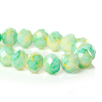 20 GREEN ROUND FACETED  GLASS BEADS 10mm
