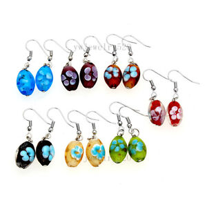 FREE-wholesale-12pairs-Fashion-Flower-murano-glass-bead-Silver-Dangle-earrings