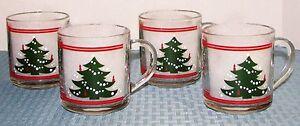 Set-of-4-Waechsterbach-Christmas-Tree-3-1-2-034-10-oz-Thermal-Mugs-EXCELLENT