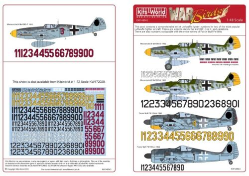 Kits World 148042-1:48 Luftwaffe Fighter Identification Numbers Decalset Neu