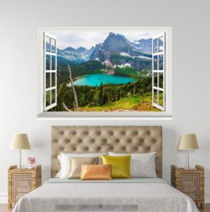 3D Hills Water View 0104 Open Windows WallPaper Murals Wall Print AJ Jenny