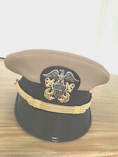 USN  - ALL SIZES NEW  OFFICER  KHAKI VISOR  HAT-  ( KHAKI CLOTH COVER)