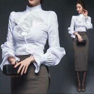 Womens-White-Stand-Collar-Long-Ruffled-Lantern-Sleeve-Slim-Fit-OL-Shirt-Top-chic