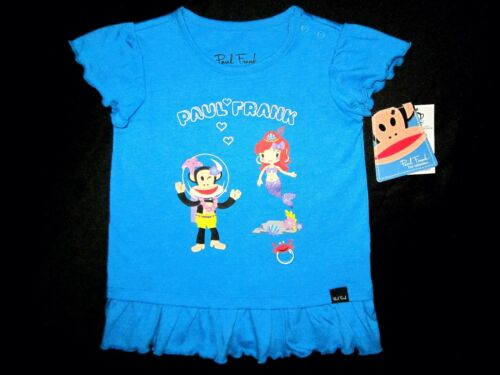 Paul Frank 24M /& 2T Toddler Little Girl Short Sleeve Turquoise Heather Tunic Top