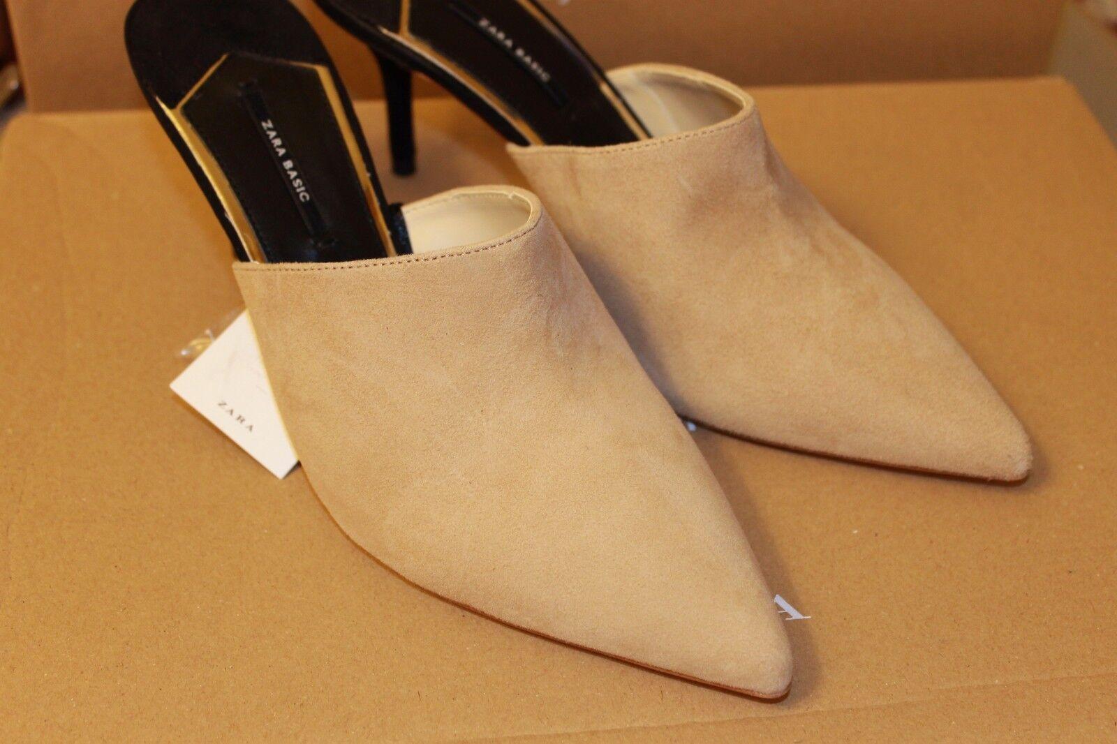 New Zara Leather Backless High Heel Heel Heel shoes Size 6.5, 8  Second item ships free 881b7e