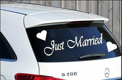 Just Married Wedding Car Window Sign Sticker Decal With Hearts